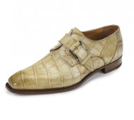 Mauri Genuine Alligator Strap-Over Buckle Dress Shoe - Bone