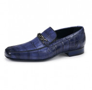 Mauri Genuine Blue Alligator Italian Horsebit Loafer Shoe
