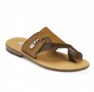 Mauri Genuine Ostrich and Patent Leather Sandal - Chestnut