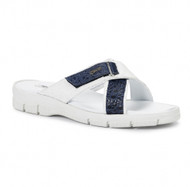 Mauri Genuine Ostrich and Frog White Sandal