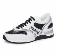 Mauri Genuine Crocodile and Leather White and Black Sneakers