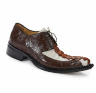 Mauri Genuine Rust Crocodile and Hornback Italian Dress Shoe