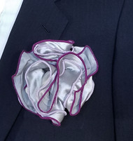 Antonio Ricci Double Color Pouf Pocket Square - Purple & Lavender on Grey