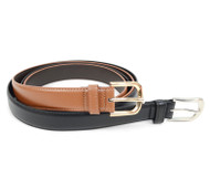 2 Belts  - Genuine Leather Black & Cognac Dress Belts