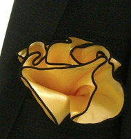 Antonio Ricci 2-in-1 Pouf Pocket Square - Black on Yellow