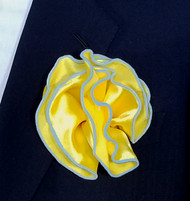 Antonio Ricci 2-in-1 Pouf Pocket Square - Light Blue on Bright Yellow