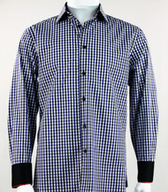 St. Cado Black & Blue Check Contrasting Cuff Fashion Sport Shirt - Button Cuff