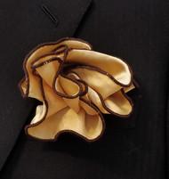 Antonio Ricci 2-in-1 Pouf Pocket Square - Brown on Golden Tan