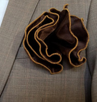 Antonio Ricci 2-in-1 Pouf Pocket Square - Gold on Brown
