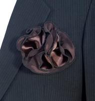 Antonio Ricci 2-in-1 Pouf Pocket Square - Black on Dark Brown