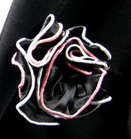 Antonio Ricci Double Color Pouf Pocket Square - Pink & White on Black