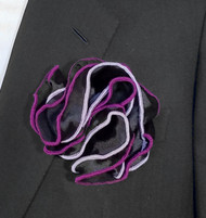 Antonio Ricci Double Color Pouf Pocket Square - Purple & Lavender on Black