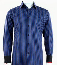 St. Cado Black & Blue Contrasting Cuff Fashion Sport Shirt - Button Cuff
