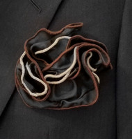 Antonio Ricci Double Color Pouf Pocket Square - Brown & Ivory on Black