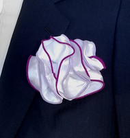 Antonio Ricci Double Color Pouf Pocket Square - Purple & Lavender on White