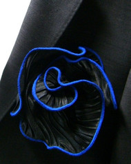 Antonio Ricci 2-in-1 Accordion Pleated Pouf  Pocket Square - French Blue on Black