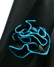 Antonio Ricci 2-in-1 Pouf Crinkle Pocket Square - Turquoise on Black