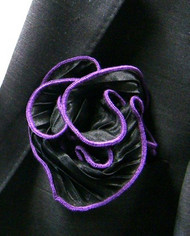 Antonio Ricci 2-in-1 Pouf Crinkle Pocket Square - Lavender on Black
