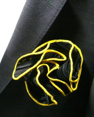 Antonio Ricci 2-in-1 Pouf Crinkle Pocket Square - Yellow on Black