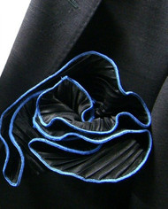 Antonio Ricci 2-in-1 Pouf Crinkle Pocket Square - Mid-Blue on Black