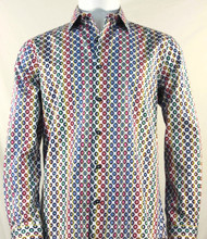 St. Cado Multi-Colored Circle Design Fashion Shirt - Button Cuff