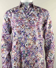 St. Cado Purple Maze Design Fashion Shirt - Button Cuff