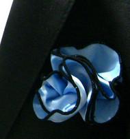 Antonio Ricci 2-in-1 Pouf Pocket Square - Black Trim on Baby Blue