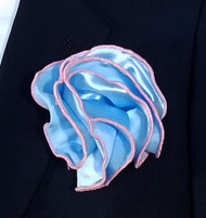 Antonio Ricci 2-in-1 Pouf Pocket Square - Pink Trim on Baby Blue
