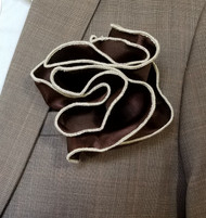 Antonio Ricci 2-in-1 Pouf Pocket Square - Ivory on Brown