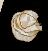 Antonio Ricci 2-in-1 Pouf Pocket Square - Tan on Ivory