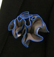 Antonio Ricci 2-in-1 Pouf Pocket Square - French Blue on Platinum Grey
