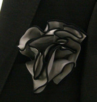 Antonio Ricci 2-in-1 Pouf Pocket Square - Black on Platinum Grey