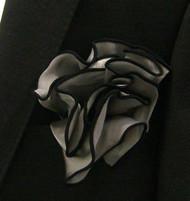 Antonio Ricci 2-in-1 Pouf Pocket Square - Black on Platinum Grey