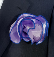 Antonio Ricci 2-in-1 Pouf Pocket Square - Royal Blue on Lavender