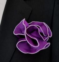 Antonio Ricci 2-in-1 Pouf Pocket Square - White on Lilac