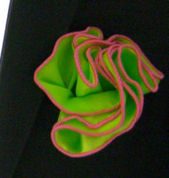 Antonio Ricci 2-in-1 Pouf Pocket Square - Pink on Lime Green
