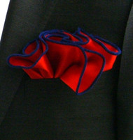 Antonio Ricci 2-in-1 Pouf Pocket Square - Royal Blue on Red