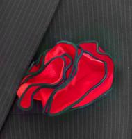 Antonio Ricci 2-in-1 Pouf Pocket Square - Dark Green on Red