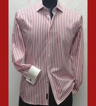 Antonio Martini Contrasting French Cuff 100% Cotton Shirt - Red Stripe