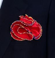 Antonio Ricci 2-in-1 Pouf Pocket Square - Multi-Color Trim on Red