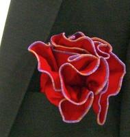 Antonio Ricci 2-in-1 Pouf Pocket Square - Multi-Color Lavender Trim on Red