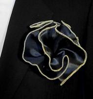 Antonio Ricci 2-in-1 Pouf Pocket Square - Gold Multi-Color on Black