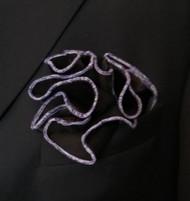 Antonio Ricci 2-in-1 Pouf Pocket Square - Purple Multi on Black