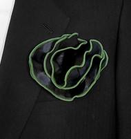 Antonio Ricci 2-in-1 Pouf Pocket Square - Green on Black