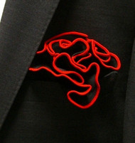 Antonio Ricci 2-in-1 Pouf Pocket Square - Fire Red on Black