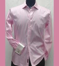 Antonio Martini Contrasting French Cuff 100% Cotton Shirt - Pink Stripe