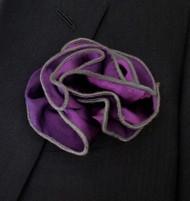 Antonio Ricci 2-in-1 Pouf Pocket Square - Charcoal on Purple