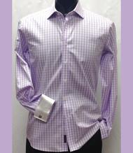 Antonio Martini Contrasting French Cuff 100% Cotton Shirt - Light Purple Check