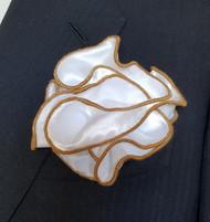Antonio Ricci 2-in-1 Pouf Pocket Square - Dark Gold on White