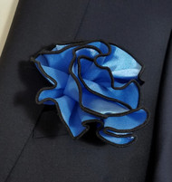 Antonio Ricci 2-in-1 Pouf Pocket Square - Black on French Blue